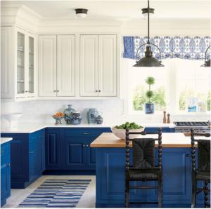 kitchen-design-in-cumming-ga-cobalt-blue-base-cabinets-ivory-top-cabinets-butcher-block-island